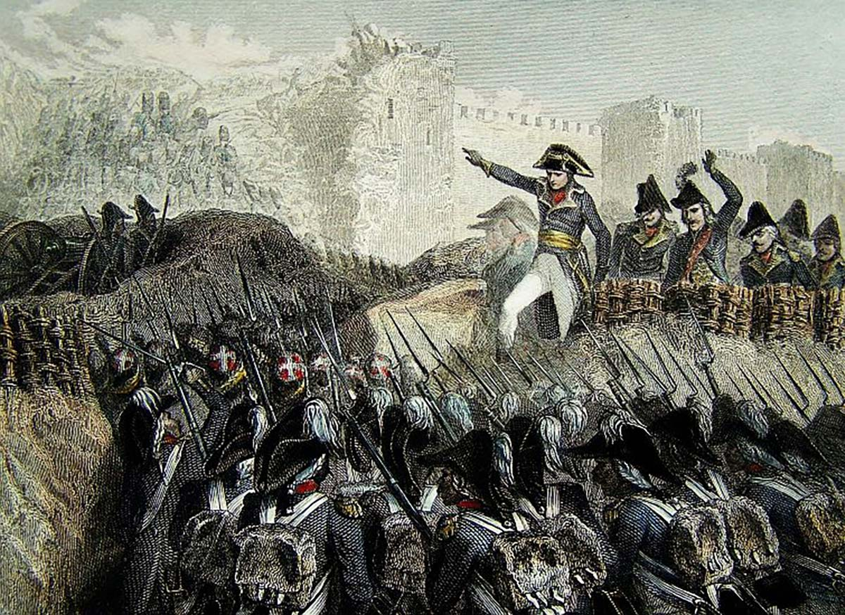 Napoleon commanding the charge on Acre. Circa 1799, painter unknown.